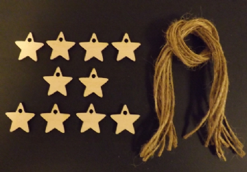 Mini Star Gift Tags Xmas Decoration 30mm Pack of 10
